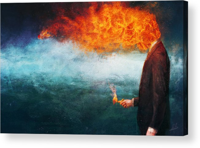 Fire Acrylic Print featuring the painting Deep by Mario Sanchez Nevado
