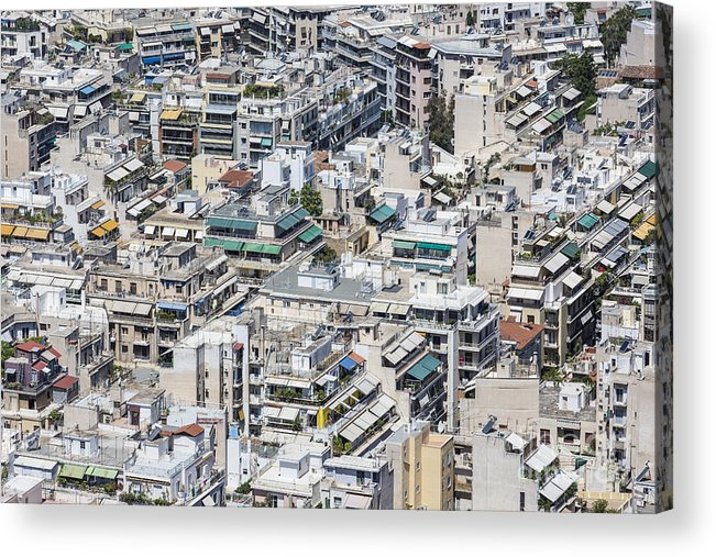 Panoramic Acrylic Print featuring the photograph Dense Urban Areas In Athens, Greece by Anastasios71