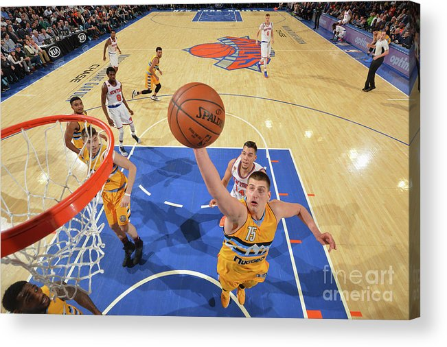 Nba Pro Basketball Acrylic Print featuring the photograph Denver Nuggets V New York Knicks by Jesse D. Garrabrant
