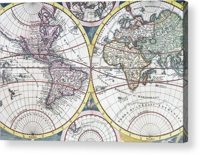 Engraving Acrylic Print featuring the digital art Detail Copper Engraving Of World Map by Grafissimo