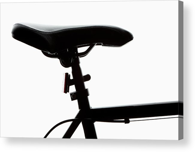 Bicycle Seat Acrylic Print featuring the photograph Detail Of A Bicycle Seat, Back Lit by Epoxydude
