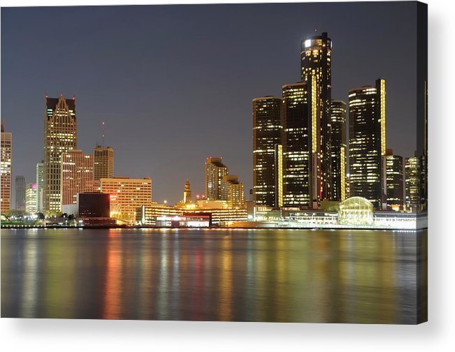 Downtown District Acrylic Print featuring the photograph Detroit Skyline At Night by Rivernorthphotography
