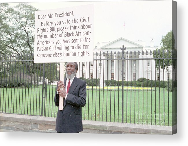 People Acrylic Print featuring the photograph Dick Gregory Holding Placard by Bettmann