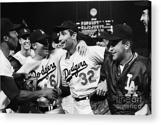 Sandy Koufax Acrylic Print featuring the photograph Dodgers Congratulating Sandy Koufax by Bettmann