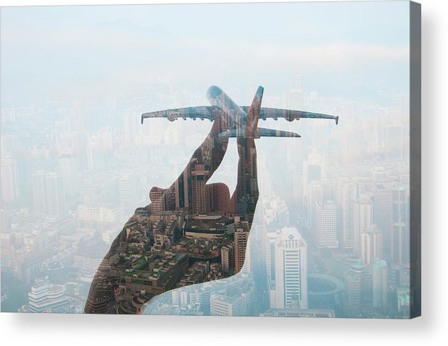 People Acrylic Print featuring the photograph Double Exposure Of Hand Holding Model by Jasper James