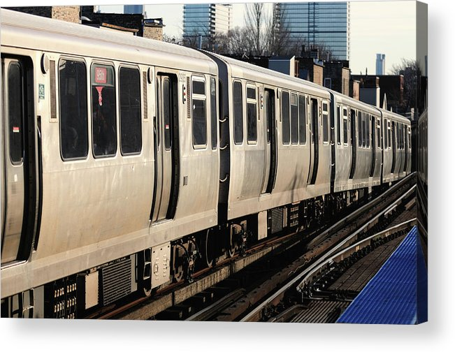 Railroad Track Acrylic Print featuring the photograph Elevated Train Descends Into Subway by Bruce Leighty