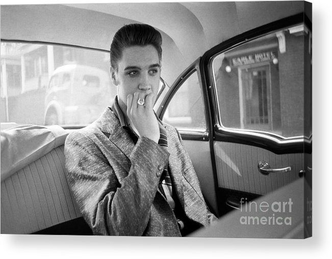 Car Interior Acrylic Print featuring the photograph Elvis Presley In A Car by Alfred Wertheimer