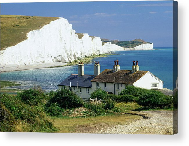 Scenics Acrylic Print featuring the photograph England, Sussex, Seven Sisters Cliffs by David C Tomlinson