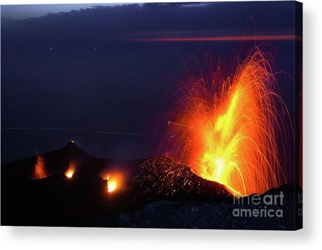 Non-urban Scene Acrylic Print featuring the photograph Eruption Of Stromboli Volcano, Italy by Francesco Sartori