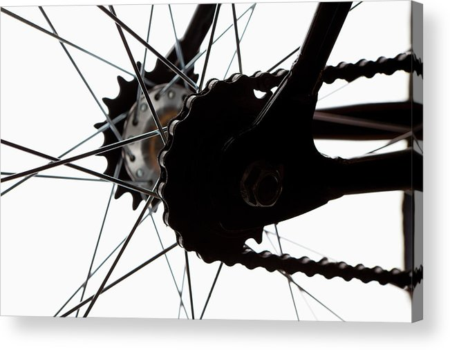 White Background Acrylic Print featuring the photograph Extreme Close Up Of Chain And Spokes by Epoxydude