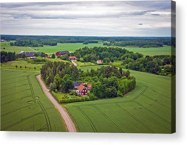 Scenics Acrylic Print featuring the photograph Farms And Fields In Sweden North Europe by Pavliha