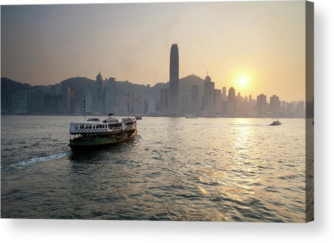 Chinese Culture Acrylic Print featuring the photograph Ferry Boat To Hong Kong by Simonbradfield