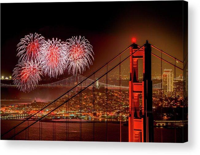 San Francisco Acrylic Print featuring the photograph Firework At San Francisco, California by Spondylolithesis