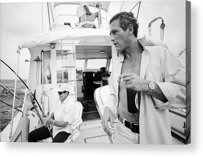 Timeincown Acrylic Print featuring the photograph Fishing With Paul Newman by Mark Kauffman