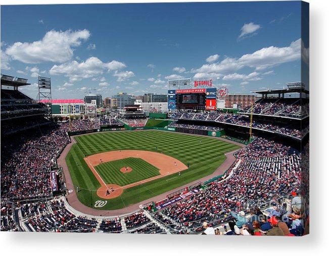 National League Baseball Acrylic Print featuring the photograph Florida Marlins V Washington Nationals by Joe Robbins
