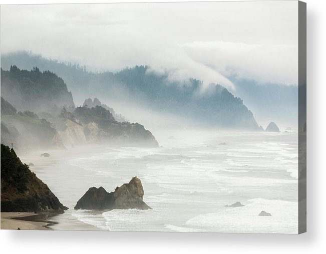 Scenics Acrylic Print featuring the photograph Fog Shrouded View Of Rocky Coastline by Win-initiative