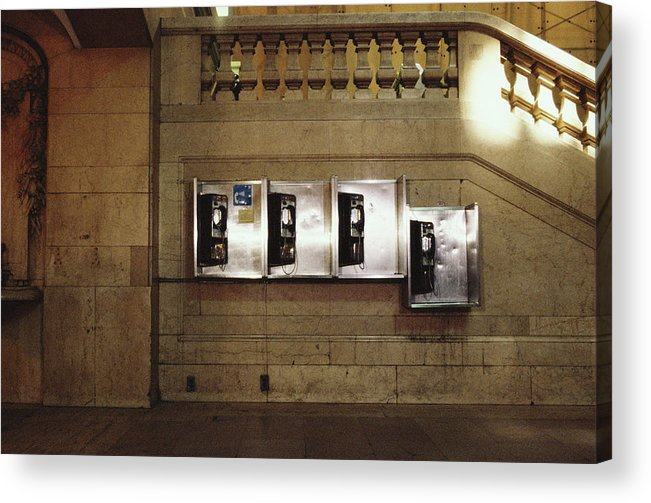 Pay Phone Acrylic Print featuring the photograph Four Telephone Booths On Marble Wall by Herb Schmitz