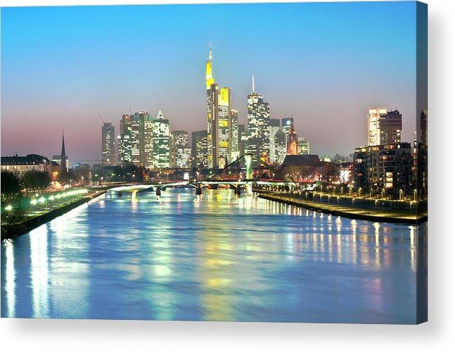 Hesse Acrylic Print featuring the photograph Frankfurt Night Skyline by Ixefra