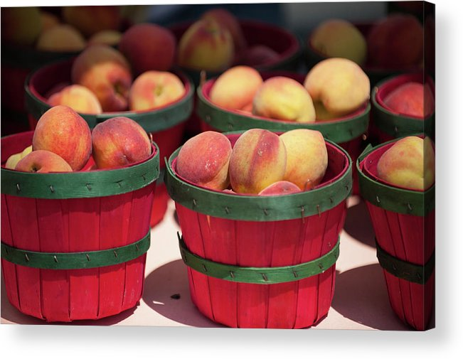 Retail Acrylic Print featuring the photograph Fresh Texas Peaches In Colorful Baskets by Txphotoblog - Randy Ennis