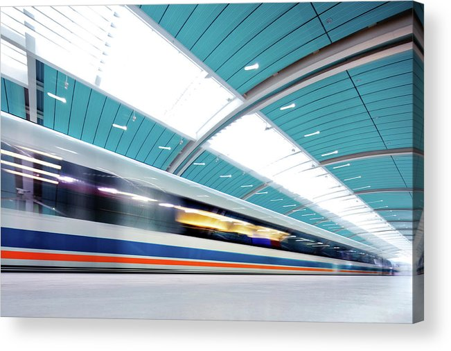 Aerodynamic Acrylic Print featuring the photograph Futuristic Train by Nikada