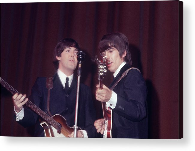 Paul Mccartney Acrylic Print featuring the photograph George Harrison, Paul Mccartney by Art Zelin