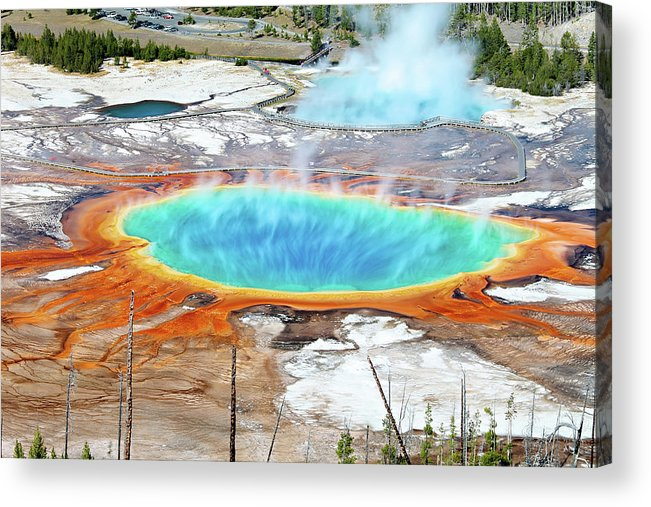 Moving Up Acrylic Print featuring the photograph Geothermal Pool With Steam Rising by Chung Hu