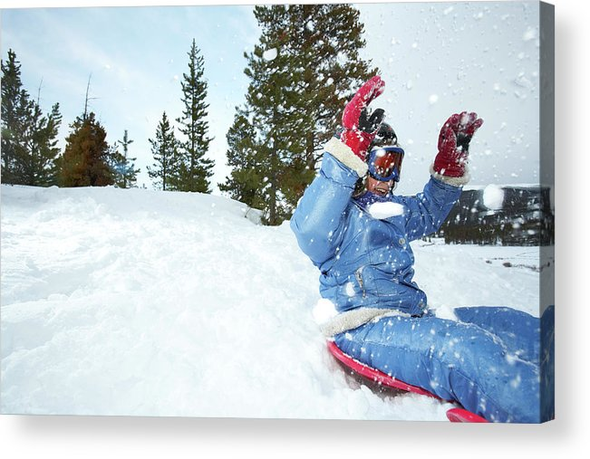 Human Arm Acrylic Print featuring the photograph Girl 8-9 On Sled by Thomas Northcut