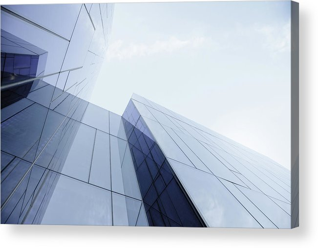 Architectural Feature Acrylic Print featuring the photograph Glass And Steel Office Building by Crossbrain66
