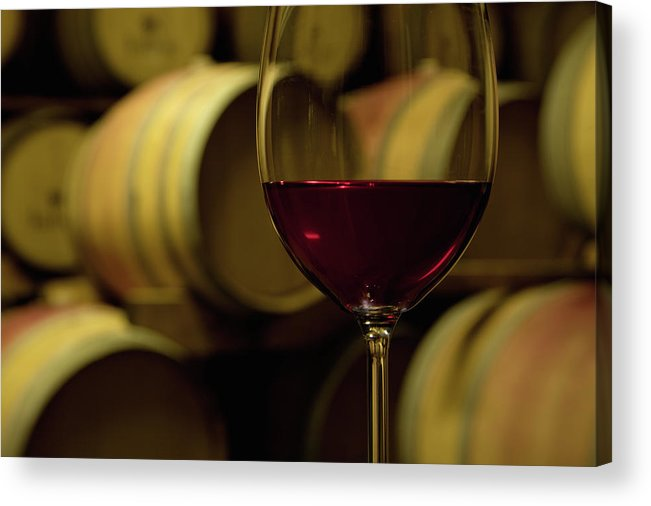 Stellenbosch Acrylic Print featuring the photograph Glass Of Red Wine In Wine Cellar by Siegfried Layda