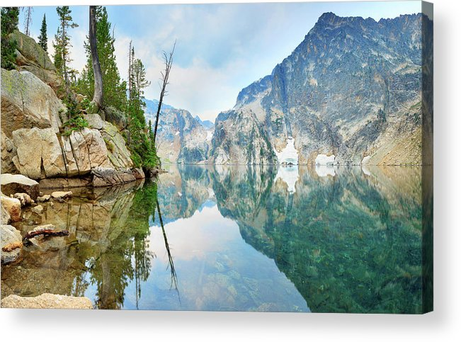 Tranquility Acrylic Print featuring the photograph Goat Lake On Cloudy Day In Sawtooth by Anna Gorin
