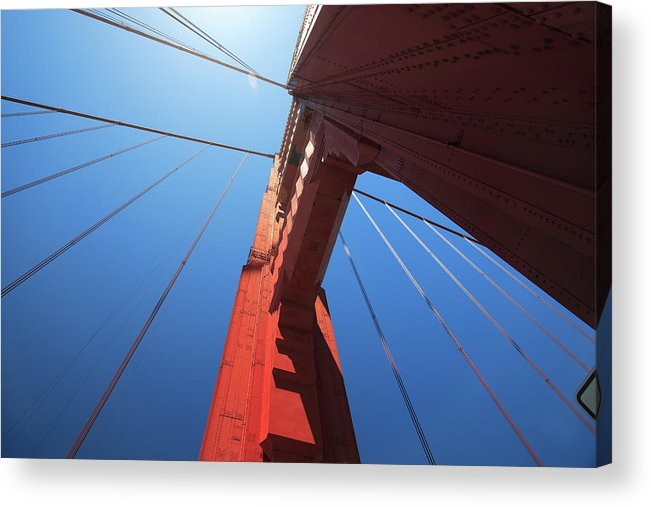 San Francisco Acrylic Print featuring the photograph Golden Gate Bridge Tower by Mortonphotographic
