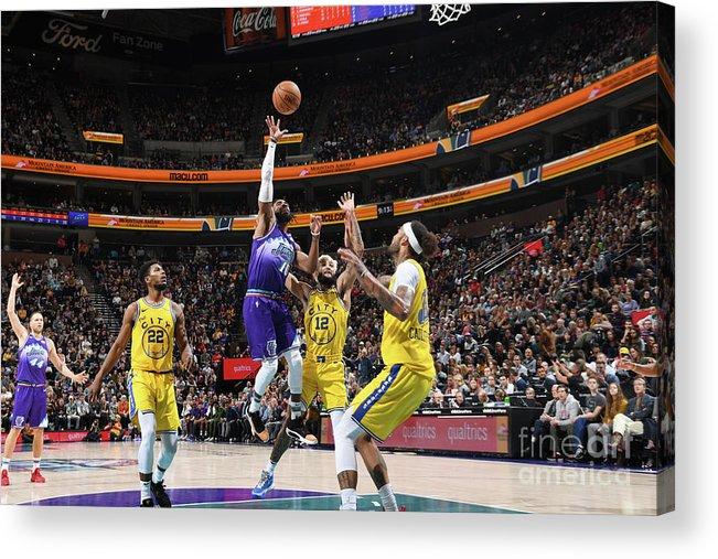 Nba Pro Basketball Acrylic Print featuring the photograph Golden State Warriors V Utah Jazz by Noah Graham