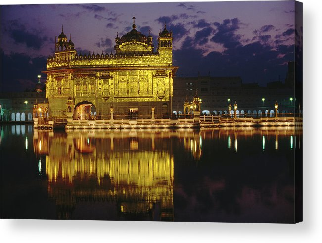 Golden Temple Acrylic Print featuring the photograph Golden Temple Harmandir Sahib On by Richard I'anson