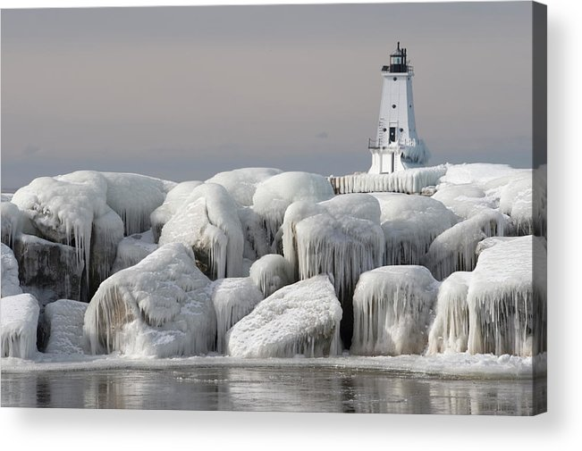 Water's Edge Acrylic Print featuring the photograph Great Lakes Lighthouse With Ice Covered by Jskiba