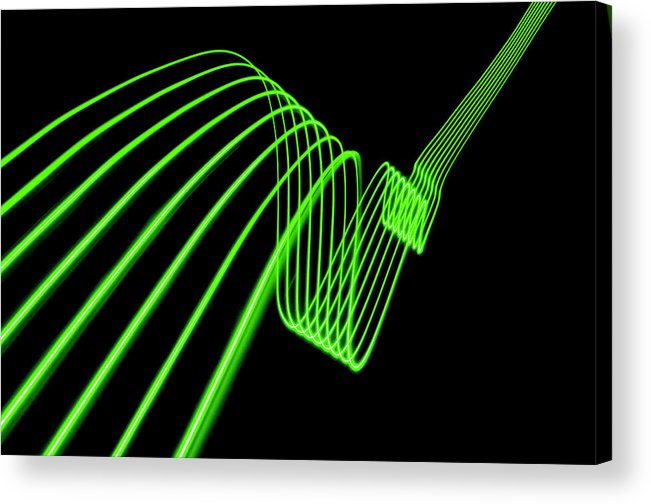 Laser Acrylic Print featuring the photograph Green Abstract Coloured Lights Trails by John Rensten