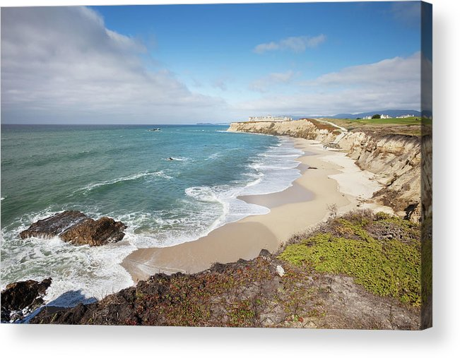 Water's Edge Acrylic Print featuring the photograph Half Moon Bay California by Stevegeer