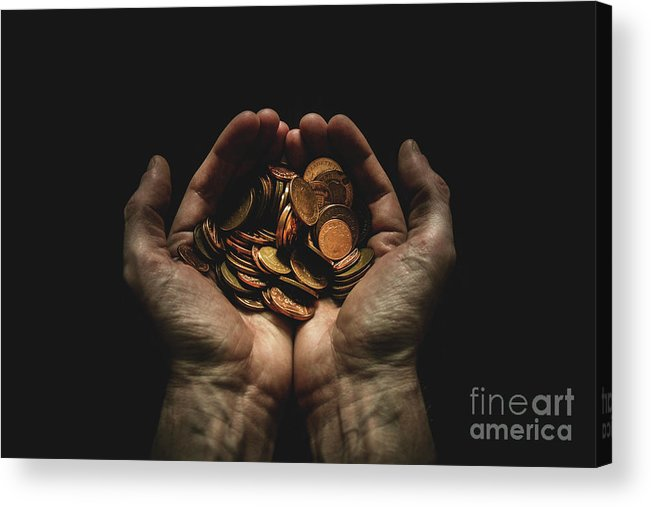 Coin Acrylic Print featuring the photograph Hands Holding Coins Against Black by Andy Kirby