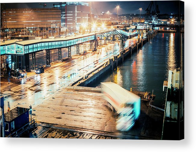 Industrial District Acrylic Print featuring the photograph Harbor Area by Peeterv