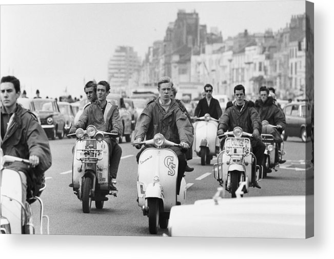 People Acrylic Print featuring the photograph Hastings Mods by Terry Fincher