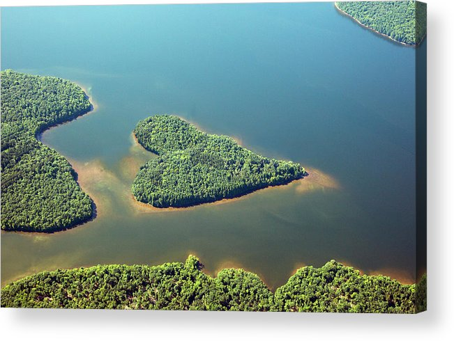 Outdoors Acrylic Print featuring the photograph Heart-shaped Island In Lake by Thomas Jackson