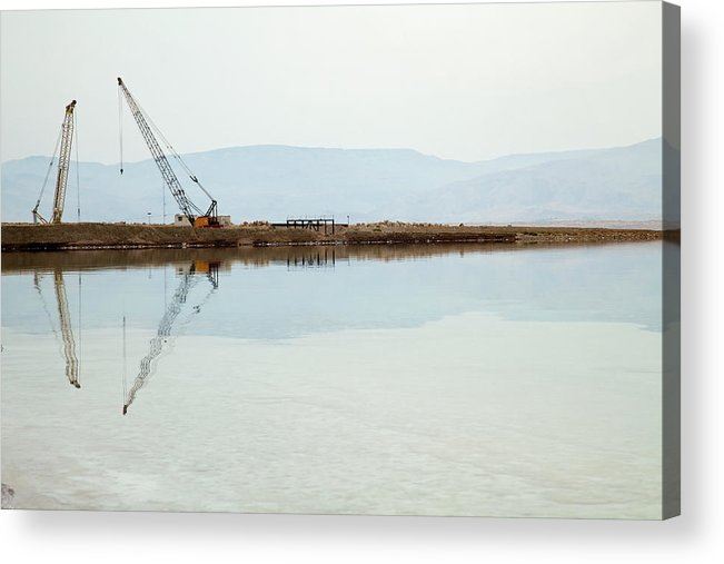 Working Acrylic Print featuring the photograph Heavy Machinery At The Dead Sea by Eldadcarin