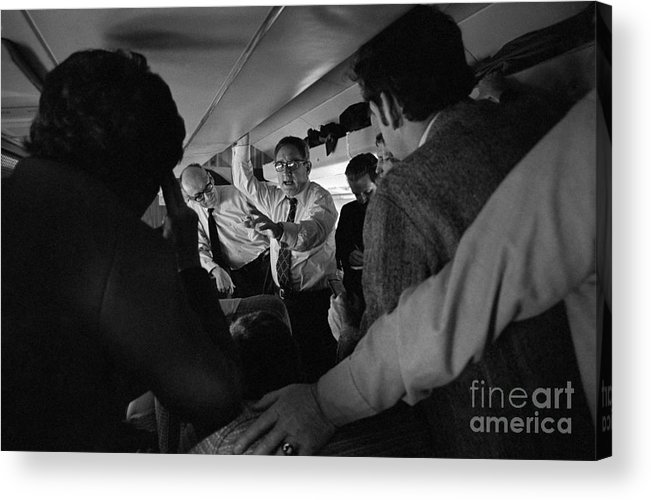 Event Acrylic Print featuring the photograph Henry Kissinger Talking With Journalists by Bettmann