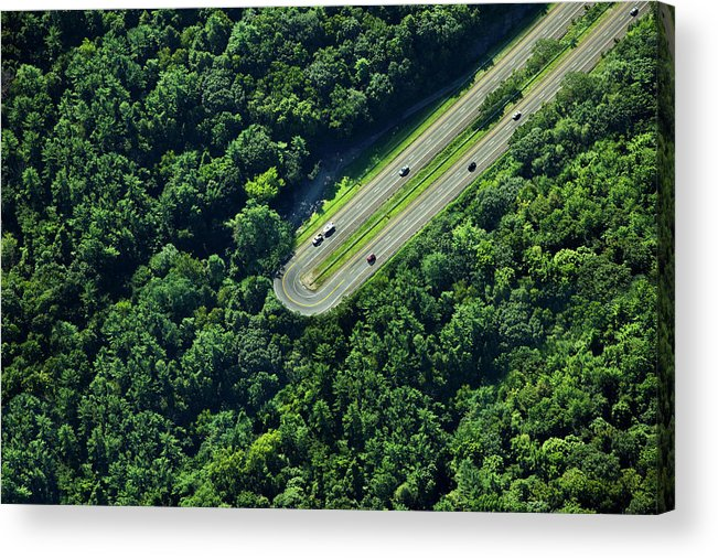 The End Acrylic Print featuring the photograph Highway U-turn In Forest by Thomas Jackson