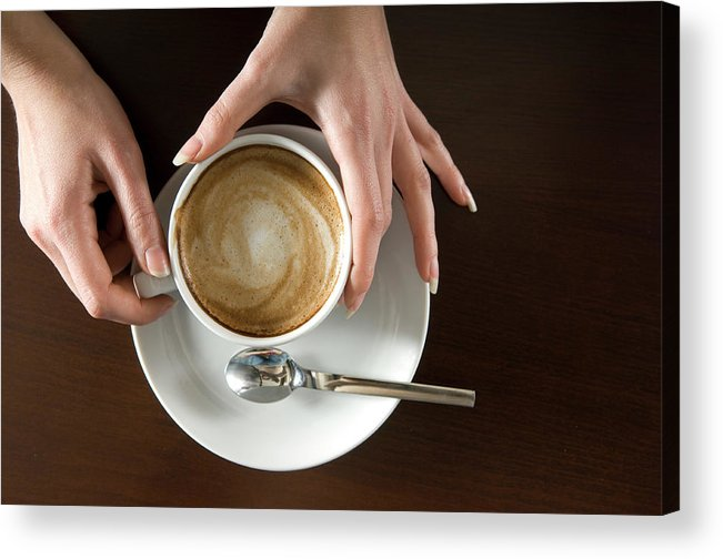 Spoon Acrylic Print featuring the photograph Holding Cappuccino by 1001nights