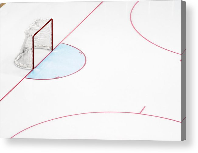 Sport Acrylic Print featuring the photograph Ice Hockey Goal Net And Empty Rink by David Madison