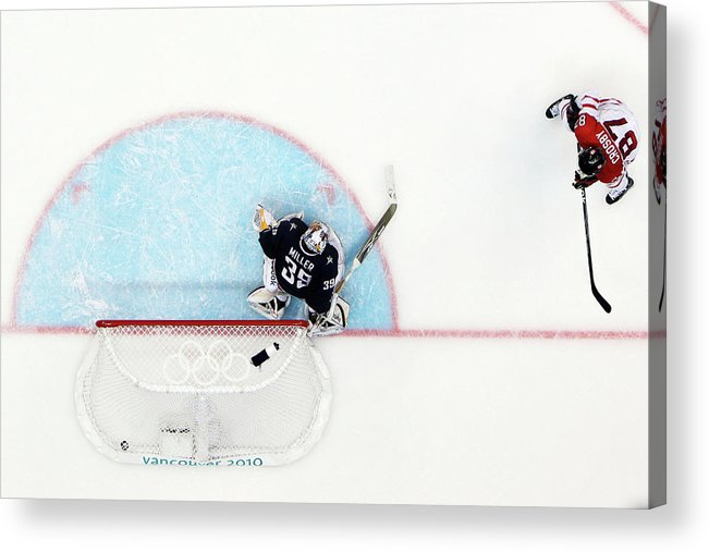 Ryan Miller Acrylic Print featuring the photograph Ice Hockey - Mens Gold Medal Game - Day by Bruce Bennett