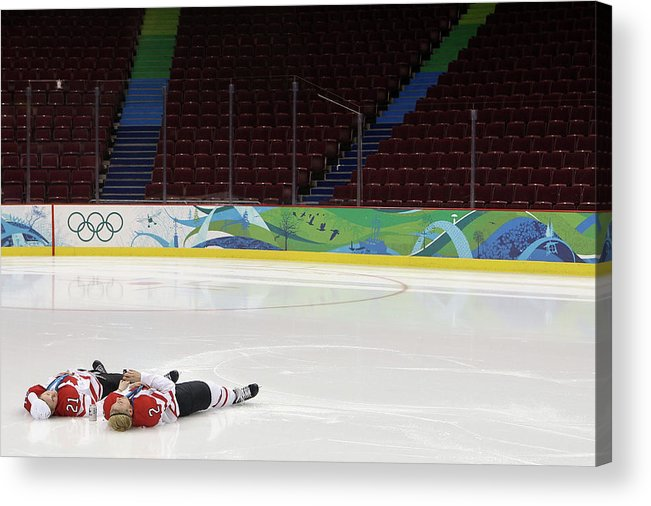 Following Acrylic Print featuring the photograph Ice Hockey - Womens Gold Medal Game by Bruce Bennett