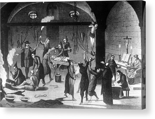 Working Acrylic Print featuring the photograph Inquisition Tortures by Three Lions