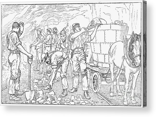 Horse Acrylic Print featuring the drawing Inside A Cheshire Salt Mine, 1889 by Print Collector
