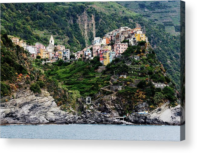 Town Acrylic Print featuring the photograph Italy, Liguria, Corniglia, View From by Jeremy Woodhouse